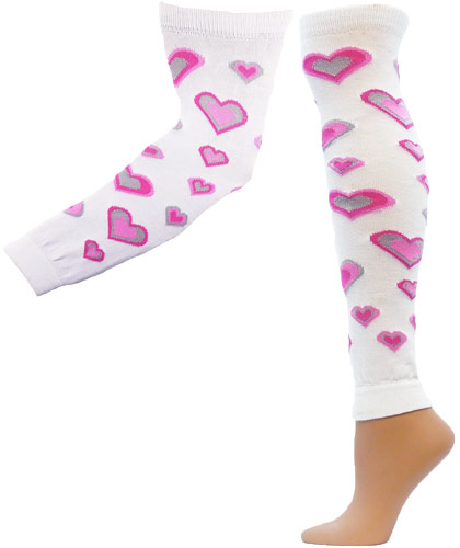 Pink Hearts Leg / Arm Warmers - in 2 Sizes