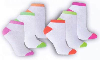 Neon 2-Tone Footie Socks