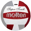 Molten Red-Silver-White Super Touch Volleyball w/ H.S. Stamp
