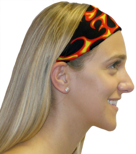 Red & Yellow Flames Spandex Fabric Headband