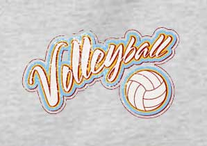 'Distressed' Volleyball Script Design T-Shirt - in 22 Shirt Colors