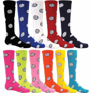 Volleyball Logo Knee High Socks - 11 Color Options