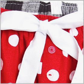 Red Polka Dot Flannel Pants - Choice of 22 Sports on Leg or Rear