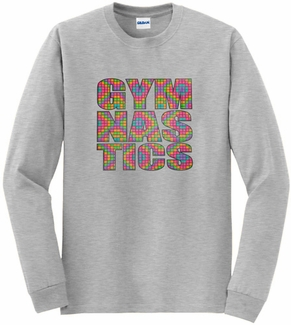 Neon Block Gymnastics Design Long Sleeve Shirt - in 18 Shirt Colors