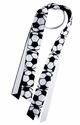 Black & White Soccer Logo Ribbon Ponytail Streamers
