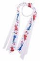 Red & Blue Cheer Logo Ribbon Ponytail Streamers