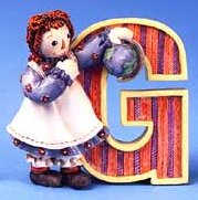G is for Globe - Raggedy Ann Figurine