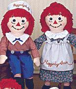 "Raggedy Ann & Andy Dolls 36"" by Applause with EMBROIDERED EYES"
