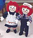 "Raggedy Ann & Andy 17"" Dolls from Applause - Dark Outfits/Vintage Traditional"