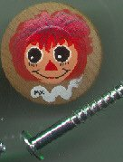 Raggedy Ann Drawer Pull / Cabinet Knob Large   **Only ONE Wood Knob left**