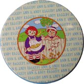 Raggedy Ann & Andy Round Tin Tray from Japan