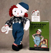 Reproduction Volland Raggedy Andy Doll & Book with Bookmark Boxed Gift Set by Applause -  **see below for box description**