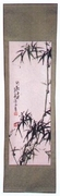 Wall Hanging  Hand-Painted Silk  Bamboo Design