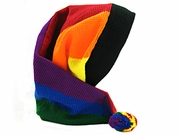 Knit Stocking Cap with Rainbow Colors Vertical and Rainbow Ball