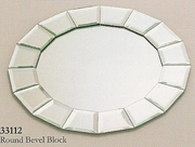 "Charger Round Bevel Block Mirror   13""dia"