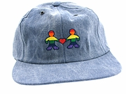 Denim Cap Embroidered Rainbow People