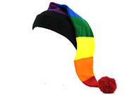 Knit Stocking Cap Rainbow Colors Horizontal