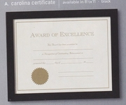Carolina Certificate Wood Frame Black Finish 8.5 x 11