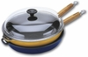 Chasseur Cast-Iron Frying Pan with Wood Handle Glass Lid