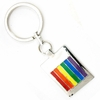 Keychain Pewter Rainbow Bars Design