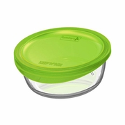"Luminarc Keep N Box Round Dish with Green Lid 6x2.5""  32oz"