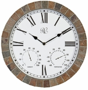 Indoor/Outdoor Tile Clock with Time, Temperature, and Humidity 15 Inch