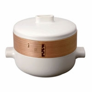 Paderno Ceramic and Bamboo Steamer Set  9-1/2""