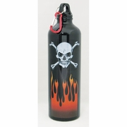 Water Bottle Aluminum  Skull and Crossbones with Flames