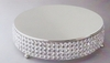 "Cake Plateau 14"" Round with Crystal  Beading Stainless Steel"