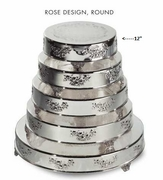"Cake Plateau Silverplated 12"" Round Rose Design"