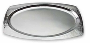 Elegance® Hammered Rim Stainless Steel Oval Serving Tray