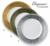 "Elegance Chargers Round Lacquer Polyresin 13""  4/set   SILVER/WHITE ONLY"