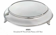 "Elegance® Silverplated 18"" Round Cake Plateau with 22"" Base"