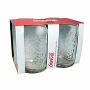Luminarc Coca Cola Clear Embossed Coke Can Glass 12 oz. 4/set