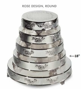 "Cake Plateau Silverplated 18"" Round  Rose Design"