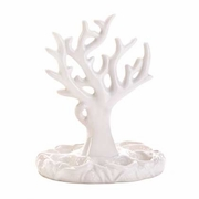 Jewelry Holder Porcelain  White Coral  Design