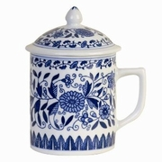 Tea Cup with Lid  Blue and White Floral