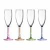 Luminarc Party Time Assorted Colored Stem Flute Glasses 5.75oz / Set of 4