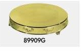 "Cake Plateau Gold Finish 22"" Round Roses Design"