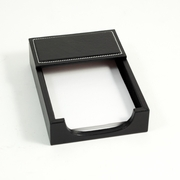 Stitched  Black Leather Memo Pad Holder