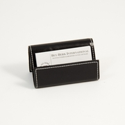 Stitched Black Leather Business Card Holder