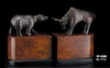 Wall Street Bull and Bear Bronzed Brass Bookends