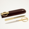 Letter Opener and Scissors Library Set Croco-Grained Leather