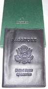 Passport Cover Black Leather Embossed United States
