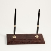 Double Pen Stand Croco-Grained Leather
