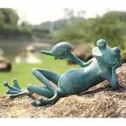 Lazy Frog with Bird Garden Sculpture