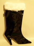 Christmas Stocking High Heel Pump   BLACK