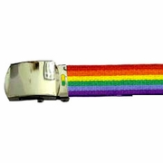 Rainbow Gay Pride Web Belt with Polished  Buckle  Reg. 42""