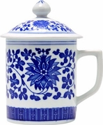 Tea Cup with Lid  Blue and White Floral Bloom Design