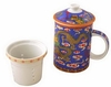 Tea Cup with Lid and Diffuser Yellow Dragon on Blue Background